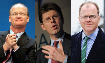 Science in government: former Universities and Science minister David Willetts; his replacement, the Minister of State for Universities, Science and Cities, Greg Clark; and George Freeman, the newly-appointed Minister for Life Sciences. Photograph credits (from left): Alessia Pierdomenico/Reuters; The CBI/Flickr; Ian Burt/Dereham Times.