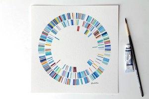 Plasmid watercolours from Sandra Culliton on Etsy