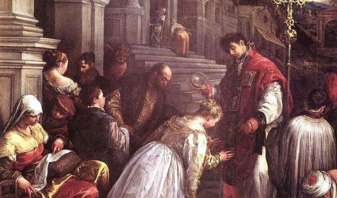 Saint Valentine baptising Saint Lucilla.